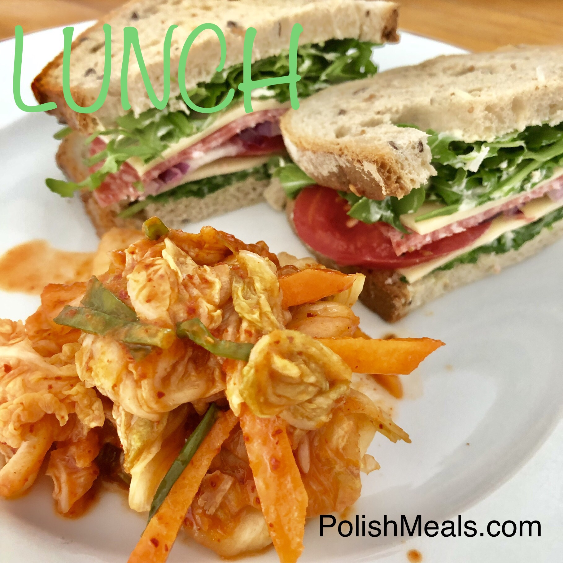 polish sandwich for lunch with kimchi